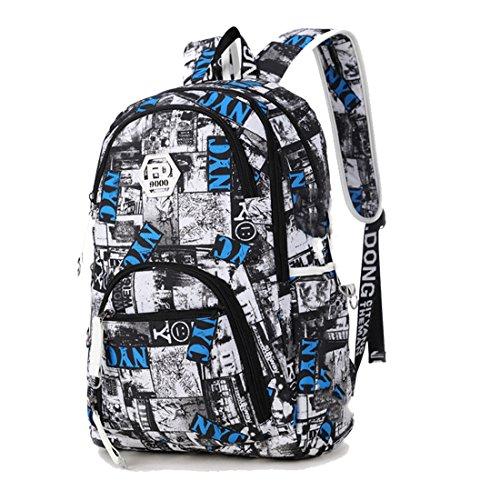 Imagen de maod  de escolar oxford tela bolsa de ordenador resistente al agua bolso del senderismo juveniles casual backpack de viaje diario azul 3