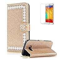 For Samsung Galaxy S8 Cover [with Free Screen Protector],Funyye Premium Luxury Elegance [Diamond Pearl] Embedded Vintage charming Wallet lovely sparkly Case [Credit Card Holder Slots] Stand Function Book Type Durable PU Leather Shell for Samsung Galaxy S8