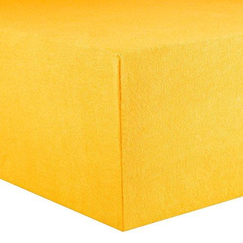 CelinaTex Lucina Spannbettlaken 180x200 - 200x200 mais gelb Jersey Baumwolle Spannbetttuch Doppelbett Matratzen 0002813