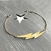 Personalised Gold Lightning Bolt Bracelet, flash bracelet, celestial jewellery, Christmas gift, anniversary gift, birthday gift