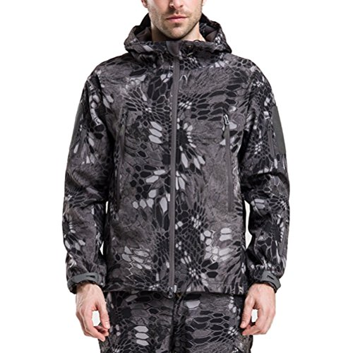 Zhhlaixing Fashion De plein air Cool Shark Skin Outerwear Waterproof Men Soft Hooded Jacket Black&White