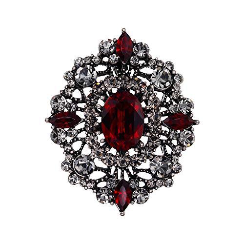 sche österreichischen Kristall Hochzeit Bankett Vintage-Stil aushöhlen Blumen Pin Vintage Broschennadeln Bekleidungs Schmuck Rot Antiker-Gold-Ton ()