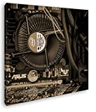 deyoli Intel CPU Kühler Format: 40x40 Effekt: Sepia als Leinwandbild, Motiv fertig gerahmt auf Echtholzrahmen, Hochwertiger Digitaldruck mit Rahmen, Kein Poster oder Plakat