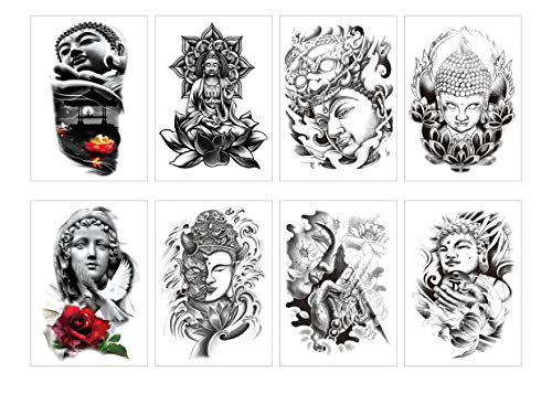 Spestyle 8pcs / package autocollant de tatouage faux Bouddha temporaire
