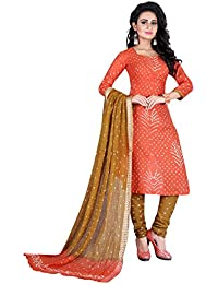 Taboody Empire Fanta Cool Orange Satin Cotton Handi Crafts Bandhani Work With Straight Salwar Suit For Girls And...