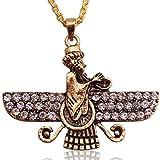 Groß Gold PT doppelseitig Kristall Farvahar faravahar Halskette Kette iranischen Persischen Geschenk, gold, Large
