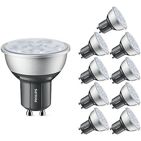 Philips 45713900 GU10 4,3 W 4000 K clase energética A + + Master LED juego de focos de intensidad regulable, 10 unidades, luz blanca fría