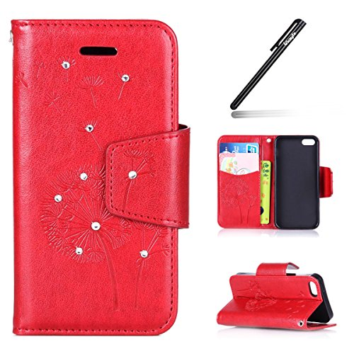 Coque Etui iPhone SE / 5S /5, iPhone SE Cuir Coque Portefeuille Relief Peint Etui avec 9 emplacements pour cartes, iPhone 5S/ 5 Étui en cuir Folio Etui Housse Leather Bookstyle Case Cover, Ukayfe Etui Pissenlit Diamant-rouge