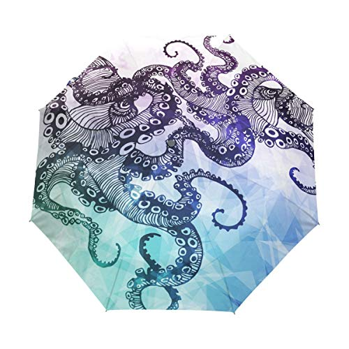 Doreen dalton abstract octopus - ombrello a 3 pieghe con chiusura automatica