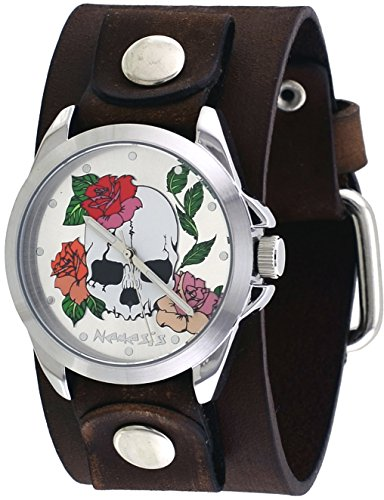 Nemesis #GBBV933S Women's Love of Death Brown Wide Leather Cuff Band Watch