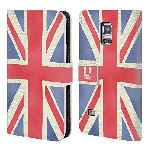 Head Case Designs Union Jack Das Beste Von London Leder Brieftaschen Huelle kompatibel mit Samsung Galaxy S5 Mini (Case Samsung Galaxy London S5)