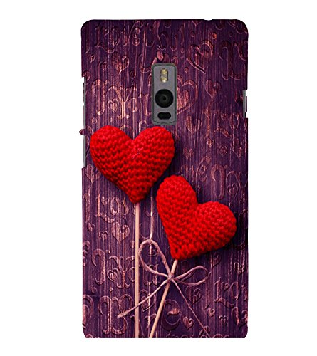 printtech Love Heart Wooden Pattern Back Case Cover for One Plus Two ::One Plus2