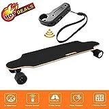 fiugsed Électrique Skateboard Longboard Skateboard avec Télécommande sans Fil Bluetooth, Planche Longue 7 Couches de Planche Feuille D'érable Solide, Vitesse Maximale 20 km/h (Noir)