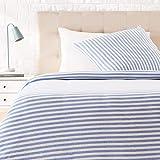 AmazonBasics Parure de lit en jersey, rayures, - 140 x 200 cm / 65 x 65 cm, Bleu