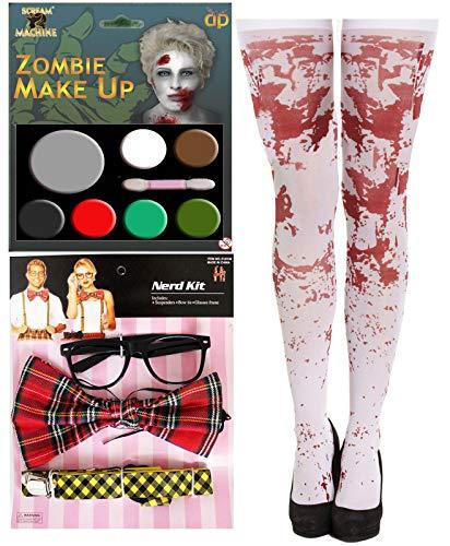 labreeze Zombie Schulmädchen Nerd Kit Make Up Bludy Strumpf Halloween Kostüm - Nerd Kostüm Kit