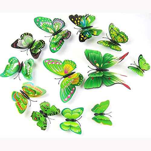 inderzimmer Kreative Dekorative Aufkleber, 3D Dreidimensionale Doppelschicht Schmetterling Garten Wandaufkleber (3 Sätze ()