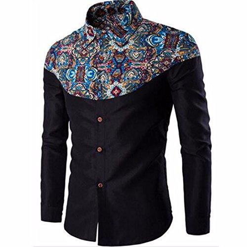 Men's Polka Dot Floral Printed Long Sleeve Formal Shirts Black