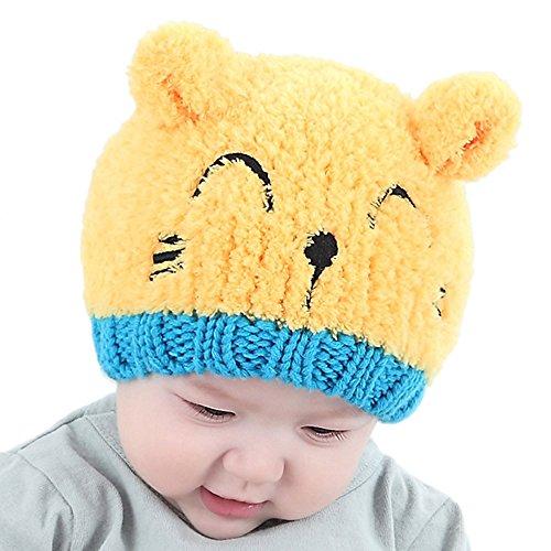LEXUPE Baby Kleinkind Kinder Junge mädchen gestrickte Kinder schöne Helm weichen Hut(Gelb,Free Size)