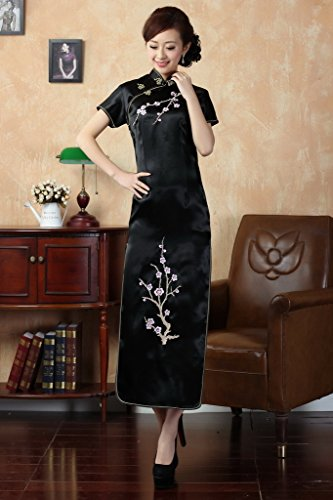 Smile YKK Femme Robe Longue Cheongsam Imprimée Prune Fleur Satin Noir