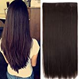 Foreign Holics 5 Clips Straight Hair Extension for Women (24-Inch , Dark Brown)