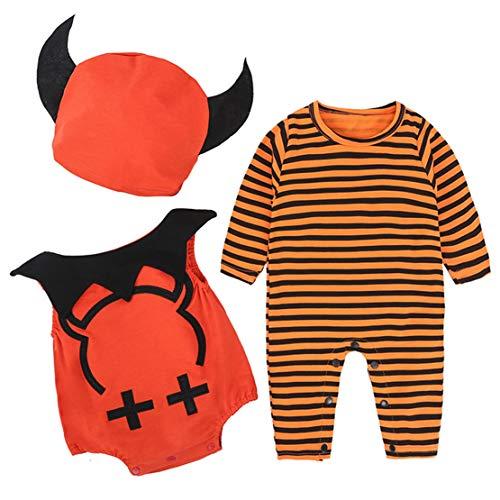 Kostüm Party Stadt Jungen - mama stadt 3PC Baby Halloween Kürbis Kostüm Süßes Overall + Hut + Weste Jungen Mädchen Unisex Cosplay Strampler Kleidungssatz