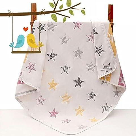 Claee Bébé Serviette de bain, serviette de bain bébé, six champignons de couche Bébé, courtepointe, gaze de coton pur, BABY'S Baby Quilt de champignons,6 a fait étoile de cinq,110*110