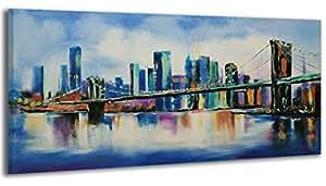 100% HANDMADE + Certificato | 115x50 cm | Quadro dipinto con colori acrilici Ponte | dipinti su tela con lettiga in legno | artigianali | Comodo fissaggio alla parete | Arte Contemporanea