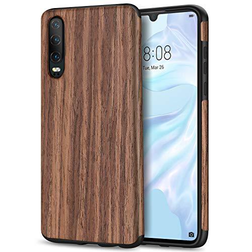 TENDLIN für Huawei P30 Hülle Holz & Flexiblem TPU Silikon Hybrid Weiche Schutzhülle Kompatibel mit Huawei P30 (Rotes Sandelholz)