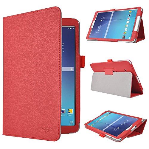 Samsung Galaxy Tab E 9.6-Inch Hülle Cover - IVSO Slim-Book Case Schutzhülle aus PU-Leder für Samsung Galaxy Tab E 9.6-Inch Tablet para Galaxy Tab E 9.6-Inch rot