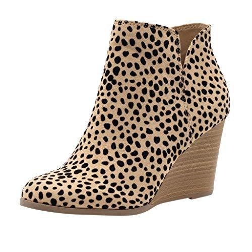YWLINK Damen Wedge Stiefeletten Der Frauen Mode Leopard Stiefel Herbst FrüHling ReißVerschluss Schuhe MäDchen Wedges Ankle Zipper Short Boots(Gelb,43 EU)