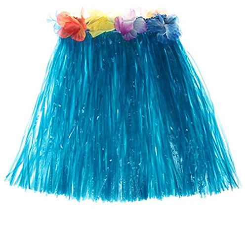 Demarkt Hawaii Party Kostüm Hawaiian Seide Falsch Blumen Hula Gras Rock Party Strand Tanz Dress Kinder Mädchen Zubehör für Hula Luau Party Size 40cm (Blau) (Hula Mädchen Tanz Kostüm)