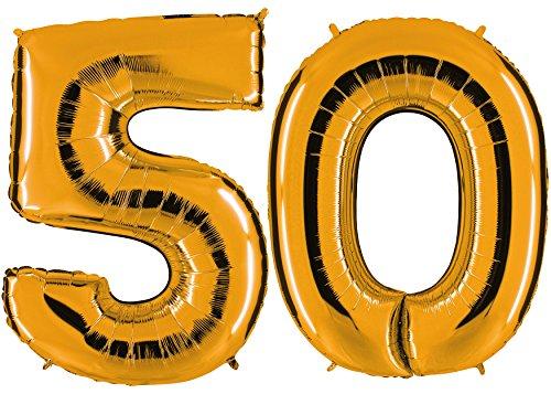 ld - XXL Riesenzahl 100cm - zum 50. Geburtstag - Party Geschenk Dekoration Folienballon Luftballon Happy Birthday - PARTYMARTY GMBH® (Nummer 50 Ballons)