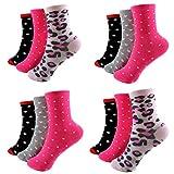 HighClassStyle 12 Paar Ladies Socks Mädchen Socken Kinder Strümpfe 90% Baumwolle A.1005 Gr. 23-38 Verschiedene Farben und Motive (35-38, Muster 1005)