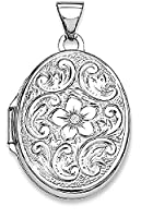 IceCarats 925 Sterling Silver Oval Floral Locket Necklace That Holds Pictures