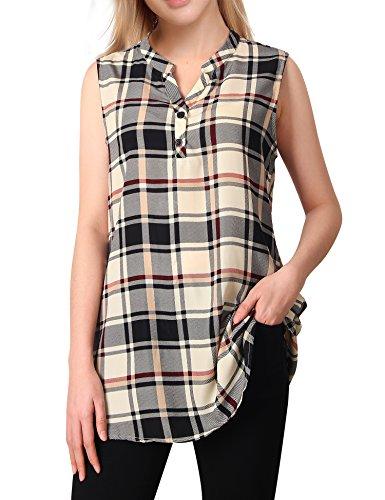 Messic Elegantes Chiffon Tops, Women Casual V-Ausschnitt Büro Shirts Ärmellose Plaid Bluse (Schwarz, Beige, Groß) (High Heels Oberschenkel Womens)