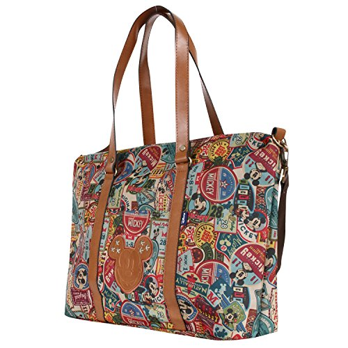 Disney Vintage Mickey Pattern All Purpose Shoulder Bag Large Shopper Handbag(bag-058-1) (Disney Tasche)