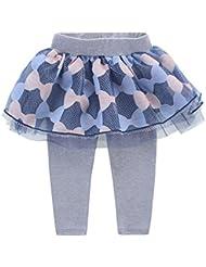 Leggings Pantalones De Bebé Niñas Con Falda Tutú tul Estampado de Lazo de ballet guapa Gris