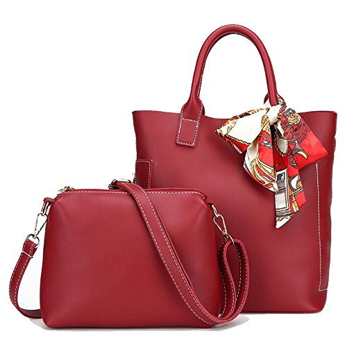Hohe Kapazität Handtasche Seide Messenger Bag PU Umhängetasche Damen Urlaub Arbeit Shopping Sport Tote 2 PCS HQ.ADIER,Red
