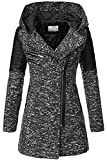 Aceshin Damen Mantel Winter Übergangsjacke Wollmantel Trenchcoat Winter Parka Jacke mit Kapuze, Revers