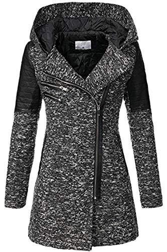 Aceshin Damen Mantel Winter Übergangsjacke Wollmantel Trenchcoat Winter Parka Jacke mit Kapuze, Revers