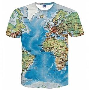 Bsrale Hombres Camiseta Imprimir mapas 3D Slim Fit Ropa DE Manga Corta Camiseta Mens Ropa Verano Tees Tops