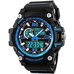 Montre de sport pour homme enfants, Waterproof Digital militaire montres avec compte à rebours/minuterie pour hommes garçons, analogique Course à Pied Homme montre bracelet - Bleu