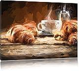 InstyleArt Tazza di caffè con cornetti Stampa su Tela 120x80 cm Artistica murale