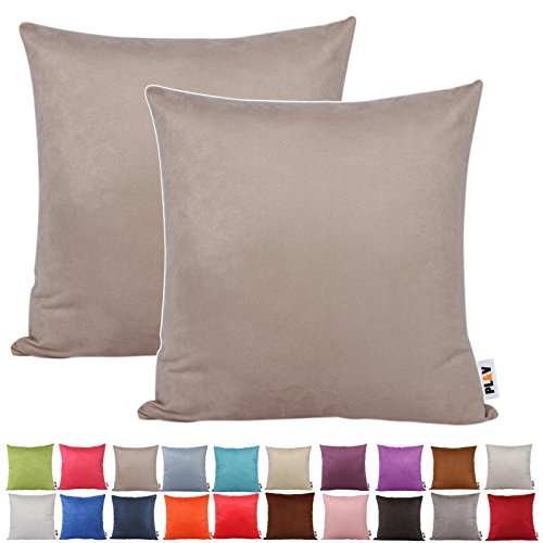 PLANDV® Solid Color Faux Suede Lightweight Decorative Cushion Cover Pack of 2,Available in 21 Colors & 7 Sizes?40x40cm, Beige)