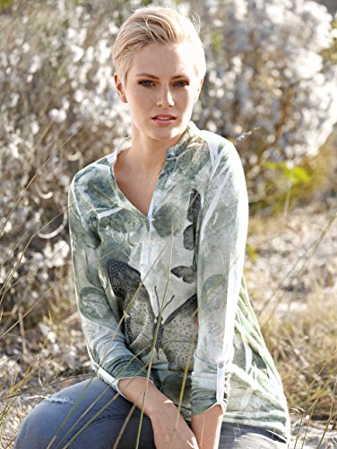 Damen Shirt mit Schmetterlingsdruck by AMY VERMONT khaki/offwhite