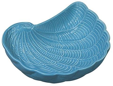 Shaped Nautilus Shell Bowl Dark Aqua Embossed Ceramic 7.25 Inch Andrea by Sadek by Sadek