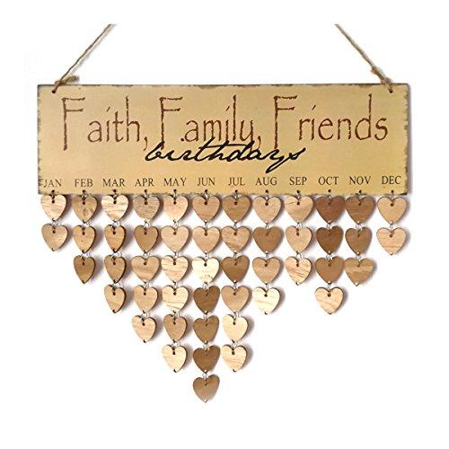 ULTNICE Holz Hängende Plakette Geburtstag Kalender Mahnung Glauben Familie Freunde Geschenk für Heimtextilien