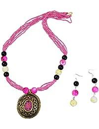 Fashionvalley Pink Jeko Moti Antique Pendant Necklace Set For Women