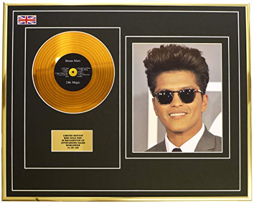 Everythingcollectible Bruno Mars/Mini Metall Gold DISC & Foto Display/Limitierte Edition/COA/ 24K Magic -