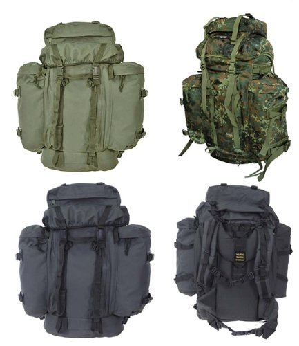 BW Rucksack Mountain 80 Liter mit abnehmbaren Daypacks in Oliv Schwarz oder Flecktarn Schwarz (Abnehmbarer Rucksack Ein Daypack)